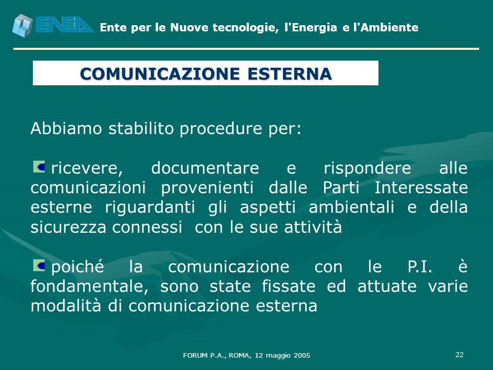 Ente per le Nuove tecnologie, l'Energia e l'Ambiente FORUM P.A., ROMA, 12 maggio 2005 22 Abbiamo stabilito procedure per: ricevere, documentare e risp