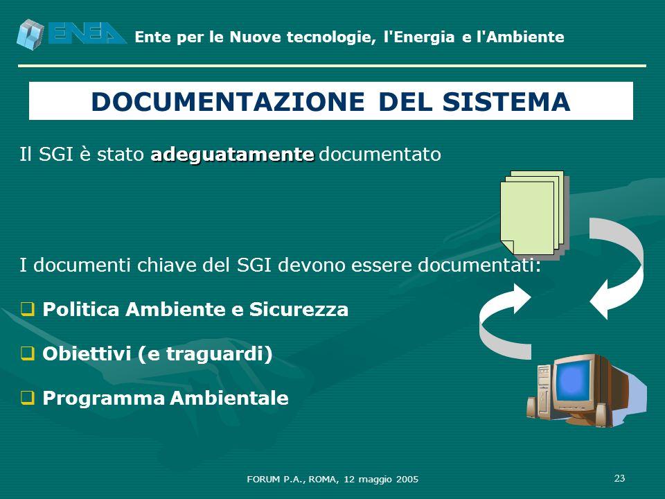 Ente per le Nuove tecnologie, l'Energia e l'Ambiente FORUM P.A., ROMA, 12 maggio 2005 23 DOCUMENTAZIONE DEL SISTEMA adeguatamente Il SGI è stato adegu