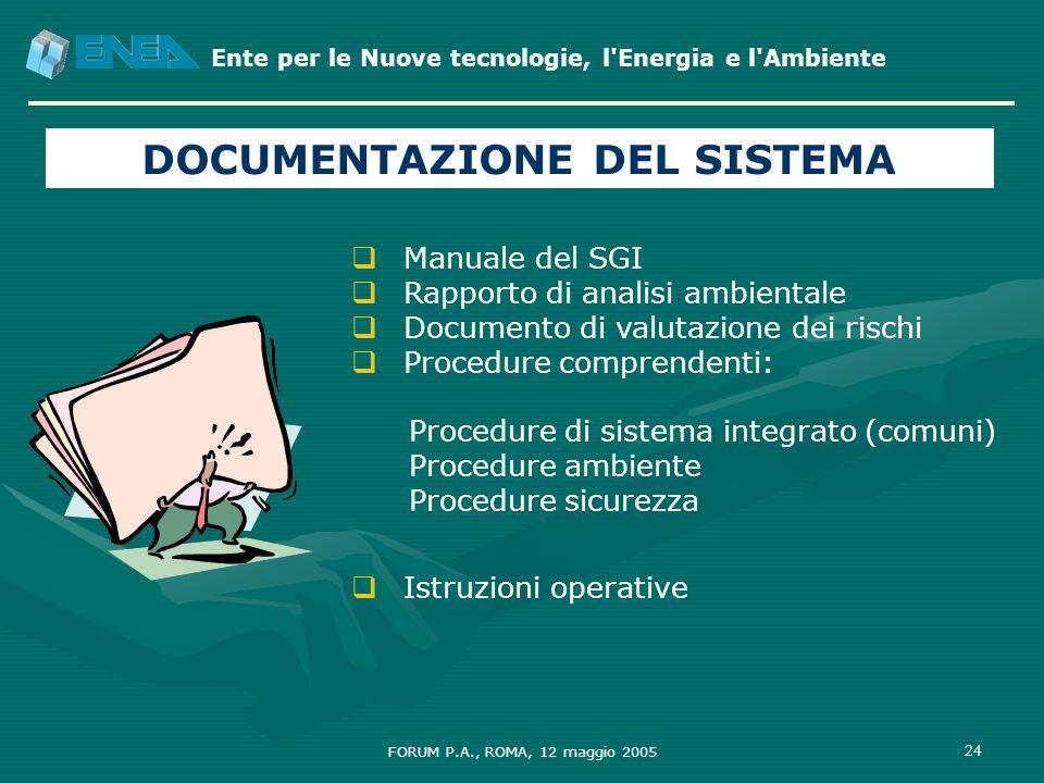 Ente per le Nuove tecnologie, l'Energia e l'Ambiente FORUM P.A., ROMA, 12 maggio 2005 24 Manuale del SGI Rapporto di analisi ambientale Documento di v