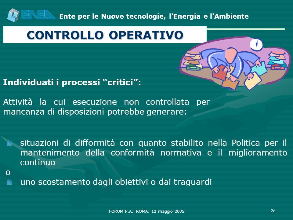 Ente per le Nuove tecnologie, l'Energia e l'Ambiente FORUM P.A., ROMA, 12 maggio 2005 26 CONTROLLO OPERATIVO situazioni di difformità con quanto stabi