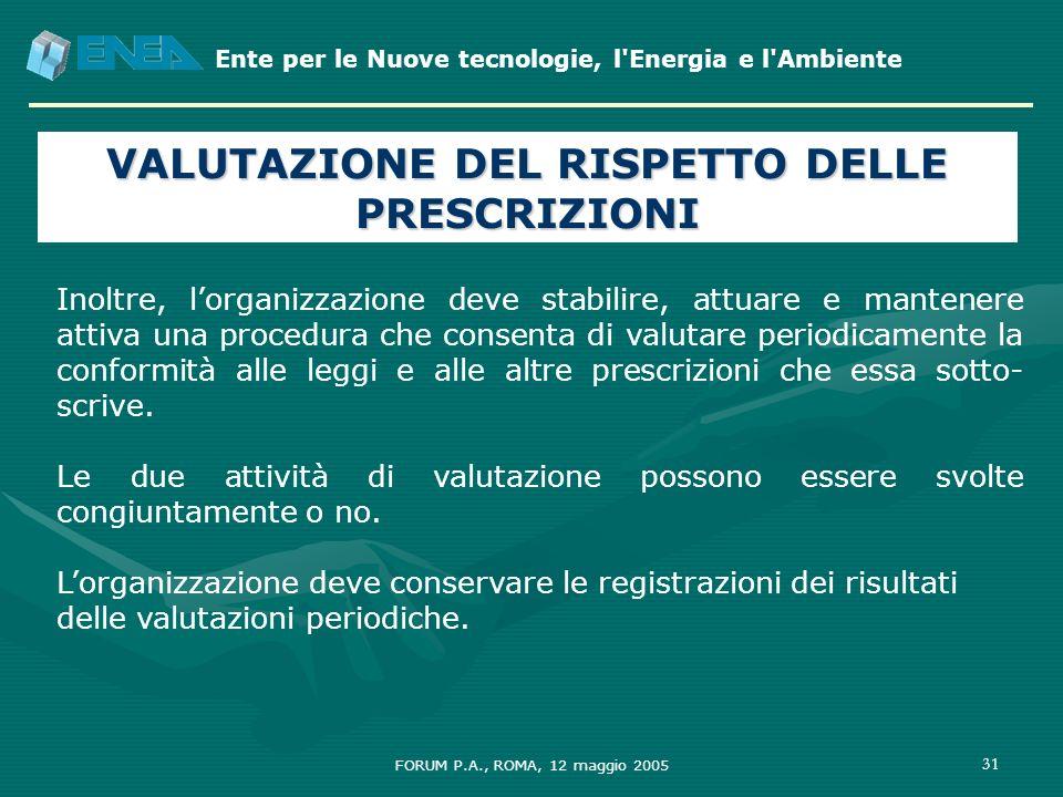 Ente per le Nuove tecnologie, l'Energia e l'Ambiente FORUM P.A., ROMA, 12 maggio 2005 31 VALUTAZIONE DEL RISPETTO DELLE PRESCRIZIONI Inoltre, lorganiz