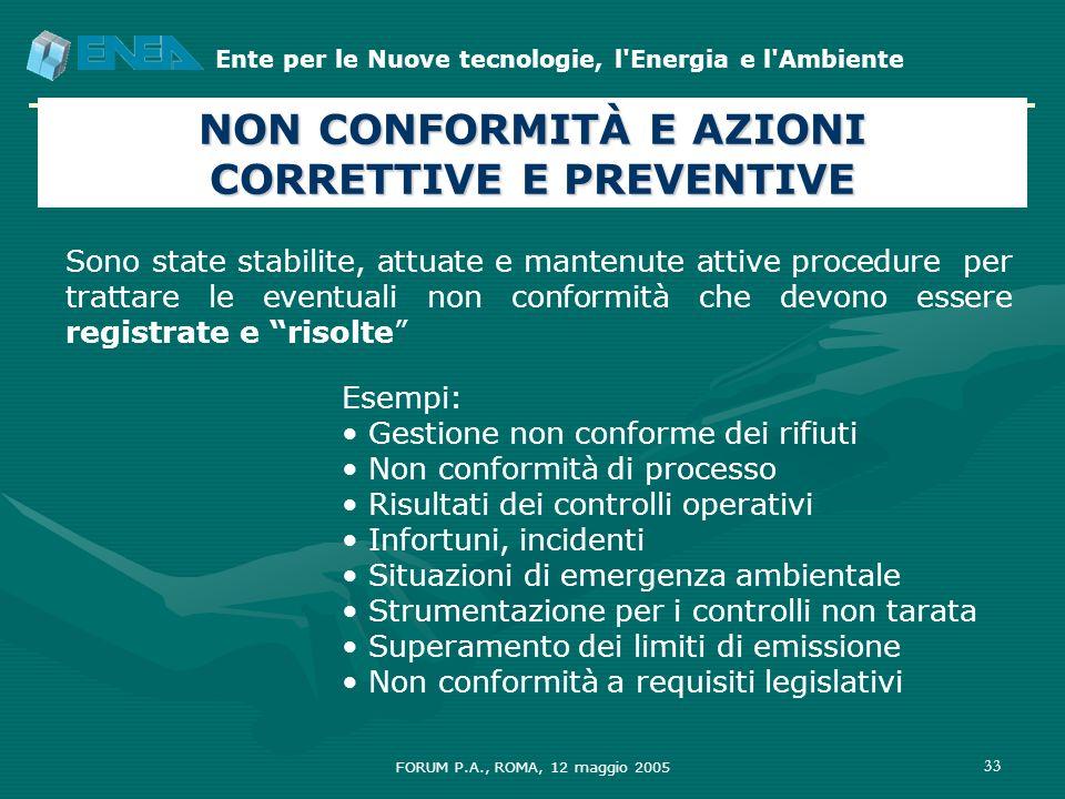 Ente per le Nuove tecnologie, l'Energia e l'Ambiente FORUM P.A., ROMA, 12 maggio 2005 33 Sono state stabilite, attuate e mantenute attive procedure pe