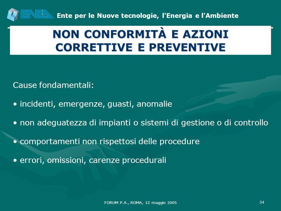 Ente per le Nuove tecnologie, l'Energia e l'Ambiente FORUM P.A., ROMA, 12 maggio 2005 34 Cause fondamentali: incidenti, emergenze, guasti, anomalie no