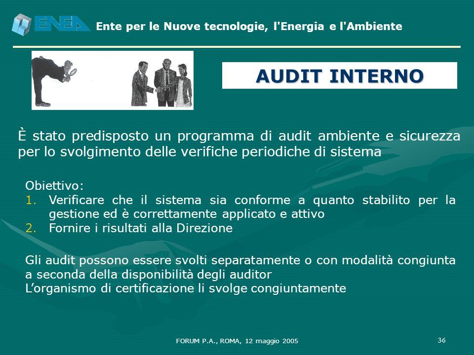 Ente per le Nuove tecnologie, l'Energia e l'Ambiente FORUM P.A., ROMA, 12 maggio 2005 36 Obiettivo: 1.Verificare che il sistema sia conforme a quanto