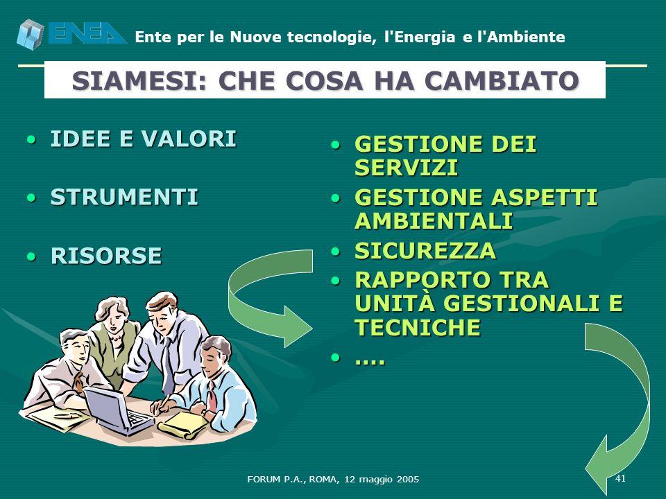 Ente per le Nuove tecnologie, l'Energia e l'Ambiente FORUM P.A., ROMA, 12 maggio 2005 41 IDEE E VALORIIDEE E VALORI STRUMENTISTRUMENTI RISORSERISORSE