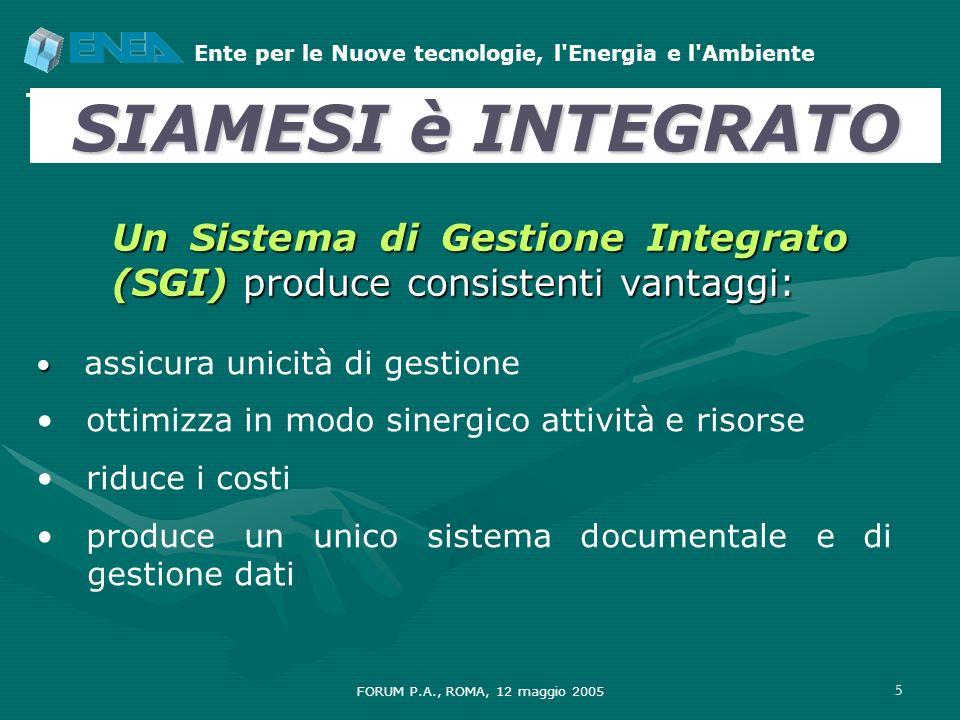Ente per le Nuove tecnologie, l'Energia e l'Ambiente FORUM P.A., ROMA, 12 maggio 2005 5 assicura unicità di gestione ottimizza in modo sinergico attiv