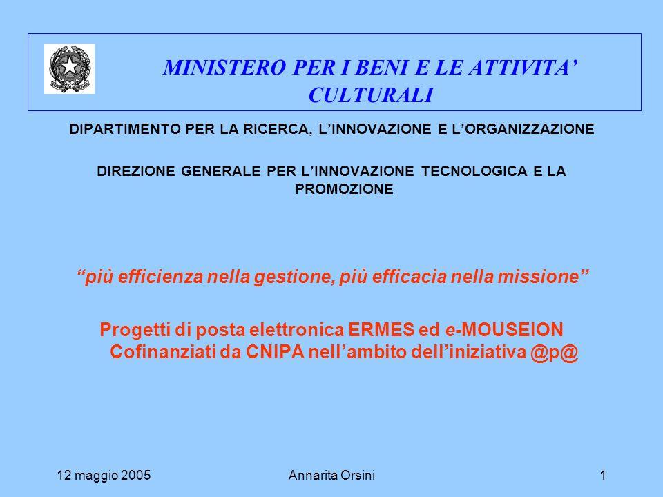 12 maggio 2005Annarita Orsini1 MINISTERO PER I BENI E LE ATTIVITA CULTURALI DIPARTIMENTO PER LA RICERCA, LINNOVAZIONE E LORGANIZZAZIONE DIREZIONE GENERALE PER LINNOVAZIONE TECNOLOGICA E LA PROMOZIONE più efficienza nella gestione, più efficacia nella missione Progetti di posta elettronica ERMES ed e-MOUSEION Cofinanziati da CNIPA nellambito delliniziativa @p@