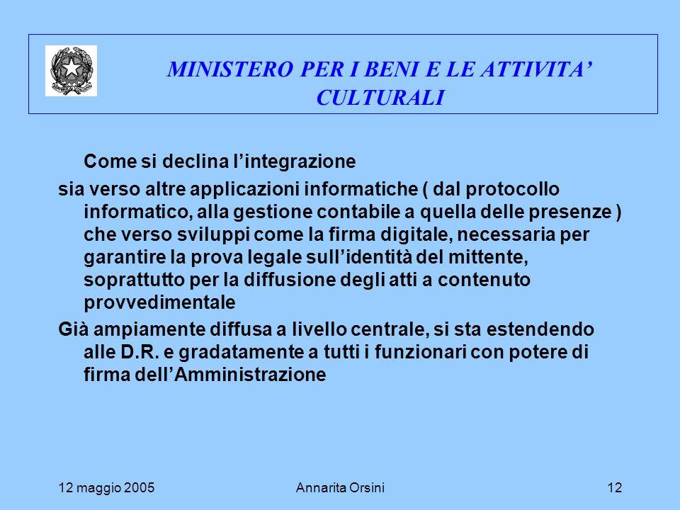 12 maggio 2005Annarita Orsini12 MINISTERO PER I BENI E LE ATTIVITA CULTURALI Come si declina lintegrazione sia verso altre applicazioni informatiche (