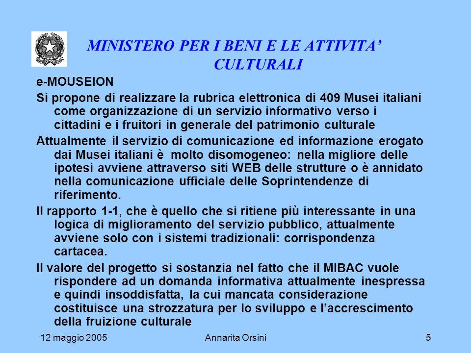 12 maggio 2005Annarita Orsini5 MINISTERO PER I BENI E LE ATTIVITA CULTURALI e-MOUSEION Si propone di realizzare la rubrica elettronica di 409 Musei it