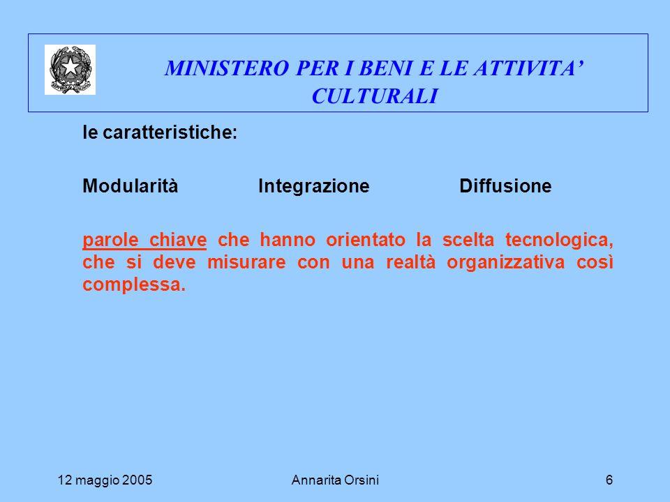 12 maggio 2005Annarita Orsini6 MINISTERO PER I BENI E LE ATTIVITA CULTURALI le caratteristiche: ModularitàIntegrazione Diffusione parole chiave che hanno orientato la scelta tecnologica, che si deve misurare con una realtà organizzativa così complessa.