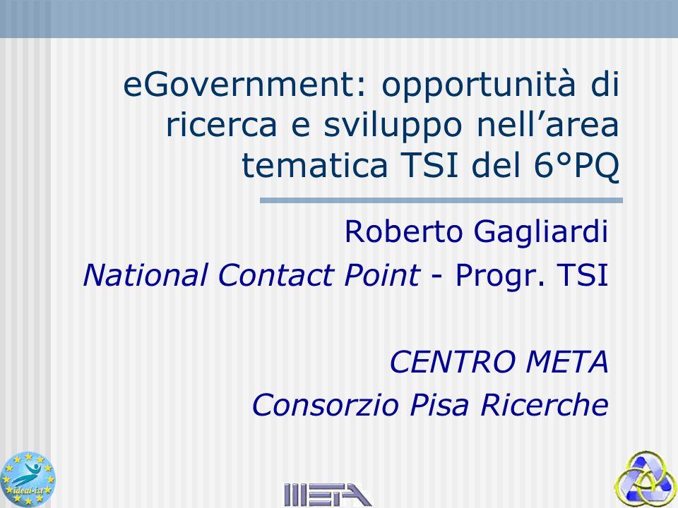 eGovernment: opportunità di ricerca e sviluppo nellarea tematica TSI del 6°PQ Roberto Gagliardi National Contact Point - Progr.