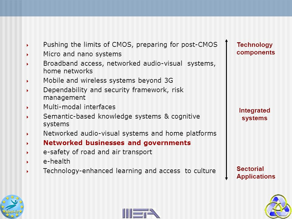 Pushing the limits of CMOS, preparing for post-CMOS Micro and nano systems Broadband access, networked audio-visual systems, home networks Mobile and
