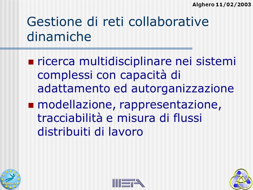 Alghero 11/02/2003 Gestione di reti collaborative dinamiche ricerca multidisciplinare nei sistemi complessi con capacità di adattamento ed autorganizzazione modellazione, rappresentazione, tracciabilità e misura di flussi distribuiti di lavoro