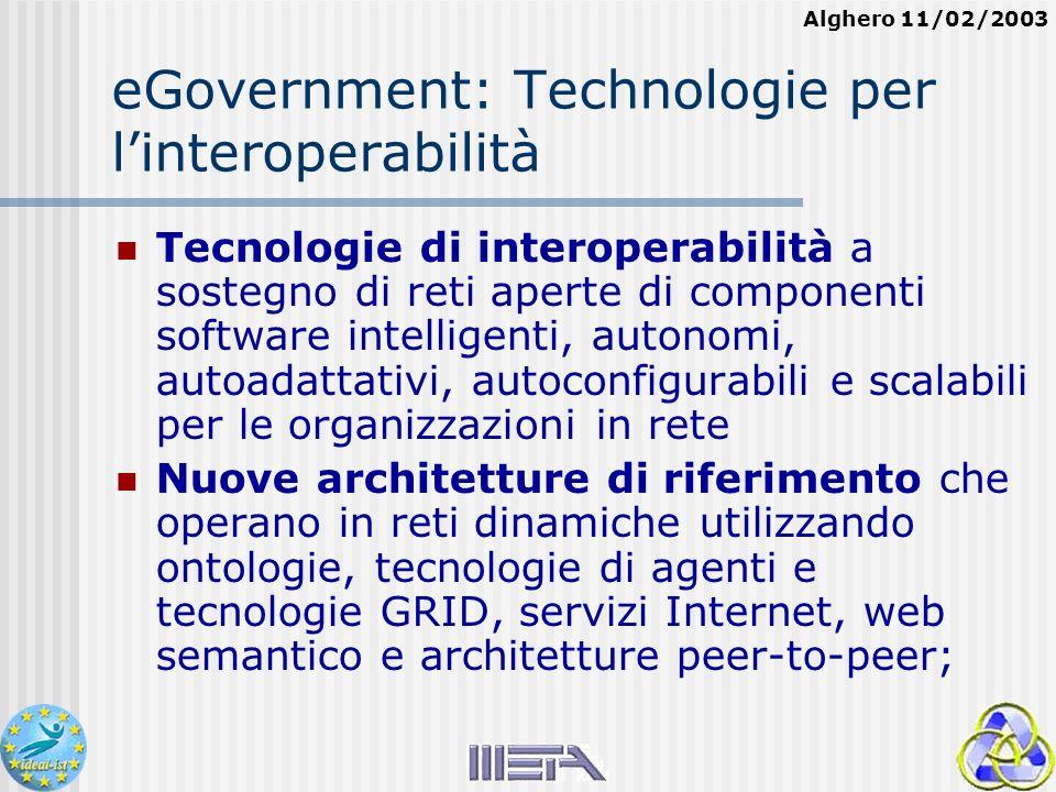Alghero 11/02/2003 eGovernment: Technologie per linteroperabilità Tecnologie di interoperabilità a sostegno di reti aperte di componenti software intelligenti, autonomi, autoadattativi, autoconfigurabili e scalabili per le organizzazioni in rete Nuove architetture di riferimento che operano in reti dinamiche utilizzando ontologie, tecnologie di agenti e tecnologie GRID, servizi Internet, web semantico e architetture peer-to-peer;