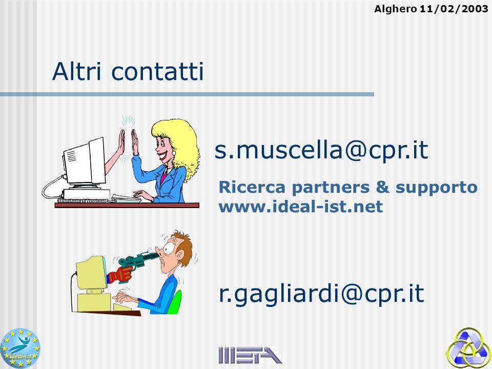 Alghero 11/02/2003 Altri contatti r.gagliardi@cpr.it s.muscella@cpr.it Ricerca partners & supporto www.ideal-ist.net