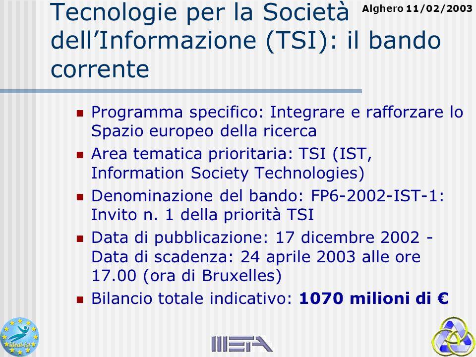 Alghero 11/02/2003 Tecnologie per la Società dellInformazione (TSI): il bando corrente Programma specifico: Integrare e rafforzare lo Spazio europeo della ricerca Area tematica prioritaria: TSI (IST, Information Society Technologies) Denominazione del bando: FP6-2002-IST-1: Invito n.