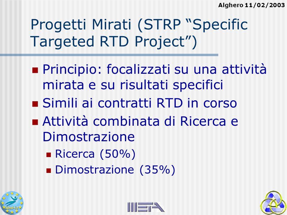Alghero 11/02/2003 Progetti Mirati (STRP Specific Targeted RTD Project) Principio: focalizzati su una attività mirata e su risultati specifici Simili ai contratti RTD in corso Attività combinata di Ricerca e Dimostrazione Ricerca (50%) Dimostrazione (35%)