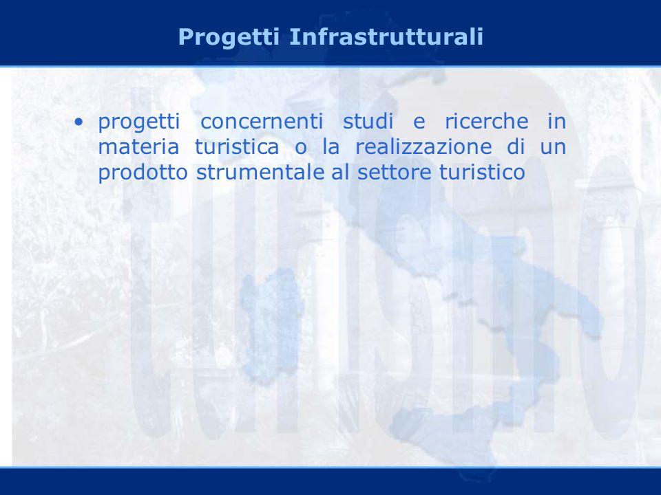 Progetti Infrastrutturali progetti concernenti studi e ricerche in materia turistica o la realizzazione di un prodotto strumentale al settore turistico