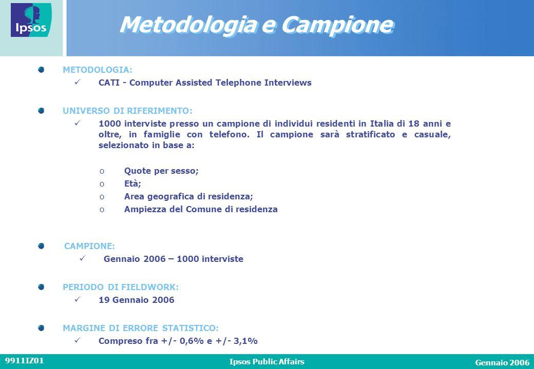 Gennaio 2006 Ipsos Public Affairs 9911IZ01 METODOLOGIA: CATI - Computer Assisted Telephone Interviews CAMPIONE: Gennaio 2006 – 1000 interviste PERIODO