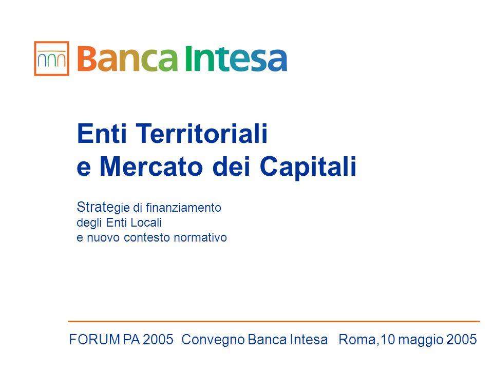 Enti Territoriali e Mercato dei Capitali Strate gie di finanziamento degli Enti Locali e nuovo contesto normativo FORUM PA 2005 Convegno Banca Intesa Roma,10 maggio 2005
