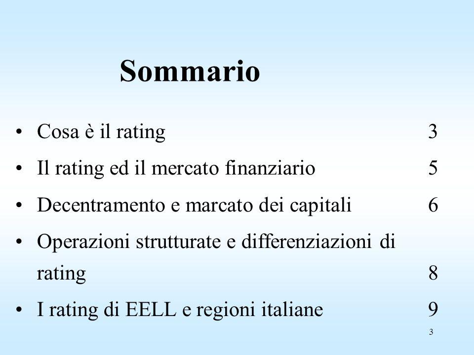 3 Sommario Cosa è il rating3 Il rating ed il mercato finanziario5 Decentramento e marcato dei capitali6 Operazioni strutturate e differenziazioni di rating8 I rating di EELL e regioni italiane 9