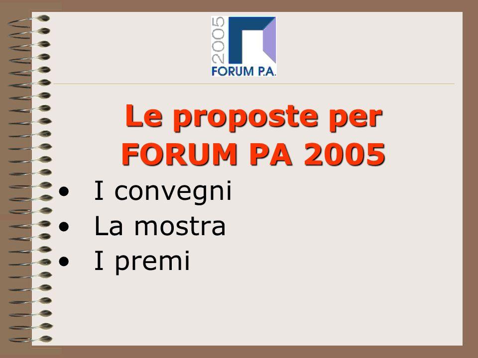 Le proposte per FORUM PA 2005 I convegni La mostra I premi