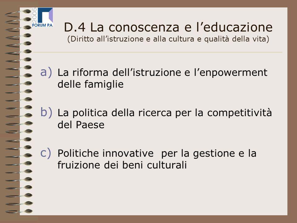D.4 La conoscenza e leducazione (Diritto allistruzione e alla cultura e qualità della vita) a) La riforma dellistruzione e lenpowerment delle famiglie b) La politica della ricerca per la competitività del Paese c) Politiche innovative per la gestione e la fruizione dei beni culturali