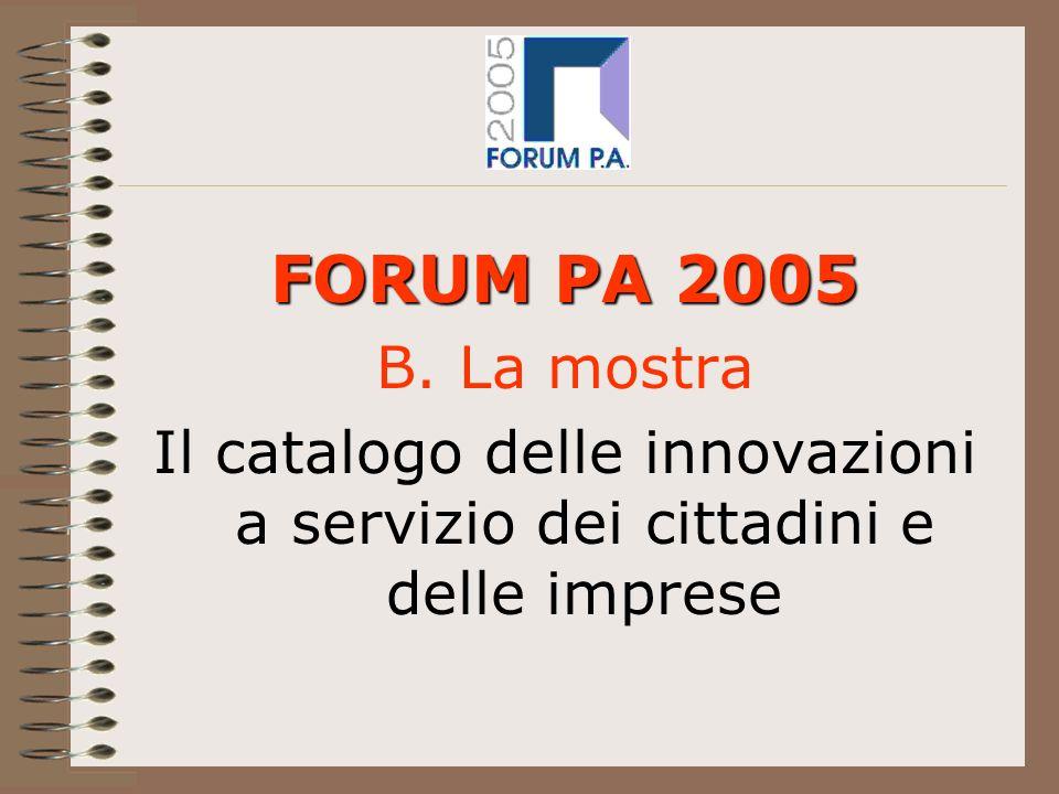 FORUM PA 2005 B. La mostra Il catalogo delle innovazioni a servizio dei cittadini e delle imprese