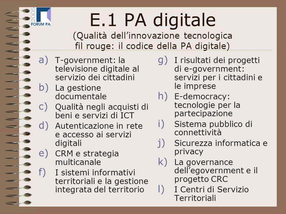 E.2 PA federale (Qualità dellorganizzazione: gli strumenti di governance per un federalismo efficiente) a) Lo stato della devoluzione dalle Regioni agli Enti locali b) Federalismo fiscale e art.
