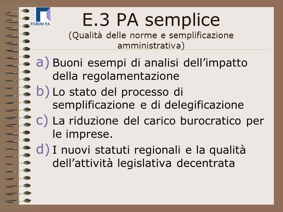 E.3 PA semplice (Qualità delle norme e semplificazione amministrativa) a) Buoni esempi di analisi dellimpatto della regolamentazione b) Lo stato del processo di semplificazione e di delegificazione c) La riduzione del carico burocratico per le imprese.