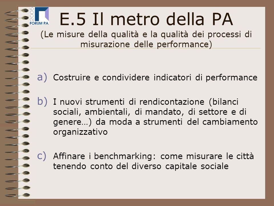 E.5 Il metro della PA (Le misure della qualità e la qualità dei processi di misurazione delle performance) a) Costruire e condividere indicatori di performance b) I nuovi strumenti di rendicontazione (bilanci sociali, ambientali, di mandato, di settore e di genere…) da moda a strumenti del cambiamento organizzativo c) Affinare i benchmarking: come misurare le città tenendo conto del diverso capitale sociale