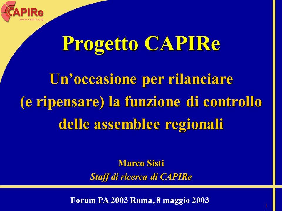 1 Progetto CAPIRe Unoccasione per rilanciare (e ripensare) la funzione di controllo delle assemblee regionali Marco Sisti Staff di ricerca di CAPIRe F