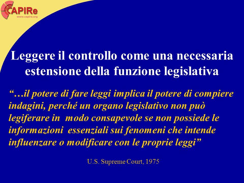 …il potere di fare leggi implica il potere di compiere indagini, perché un organo legislativo non può legiferare in modo consapevole se non possiede l