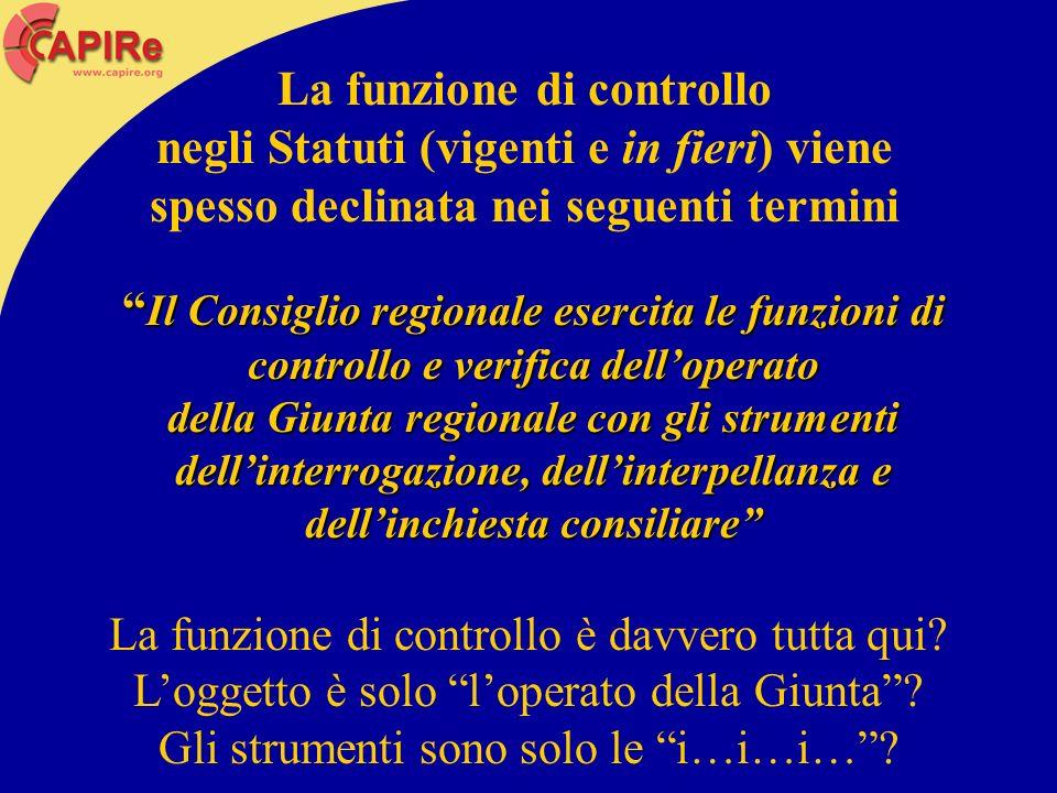 La funzione di controllo negli Statuti (vigenti e in fieri) viene spesso declinata nei seguenti termini Il Consiglio regionale esercita le funzioni di