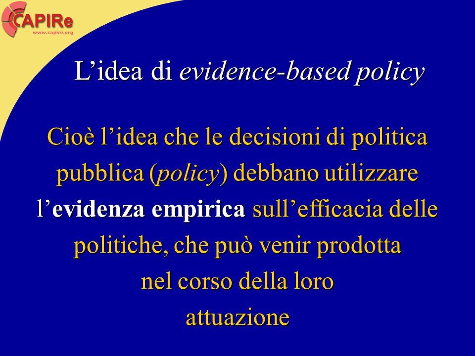 Cioè lidea che le decisioni di politica pubblica (policy) debbano utilizzare levidenza empirica sullefficacia delle politiche, che può venir prodotta