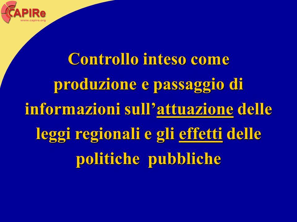 Controllo inteso come produzione e passaggio di informazioni sullattuazione delle leggi regionali e gli effetti delle politiche pubbliche