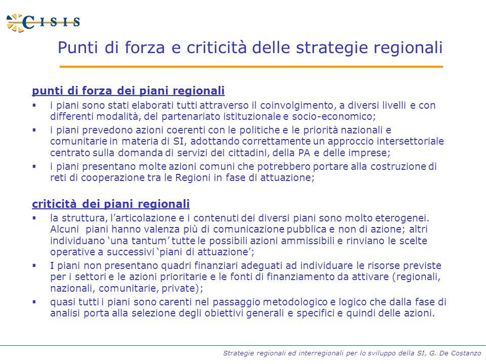 Strategie regionali ed interregionali per lo sviluppo della SI, G. De Costanzo Punti di forza e criticità delle strategie regionali punti di forza dei
