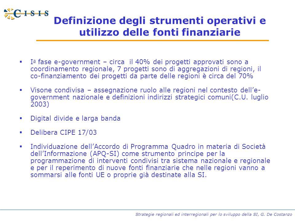 Strategie regionali ed interregionali per lo sviluppo della SI, G. De Costanzo Definizione degli strumenti operativi e utilizzo delle fonti finanziari