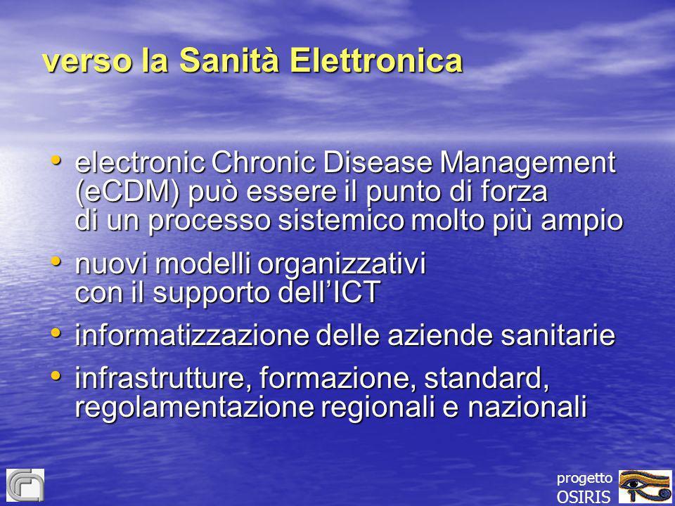 progetto OSIRIS verso la Sanità Elettronica electronic Chronic Disease Management (eCDM) può essere il punto di forza di un processo sistemico molto p