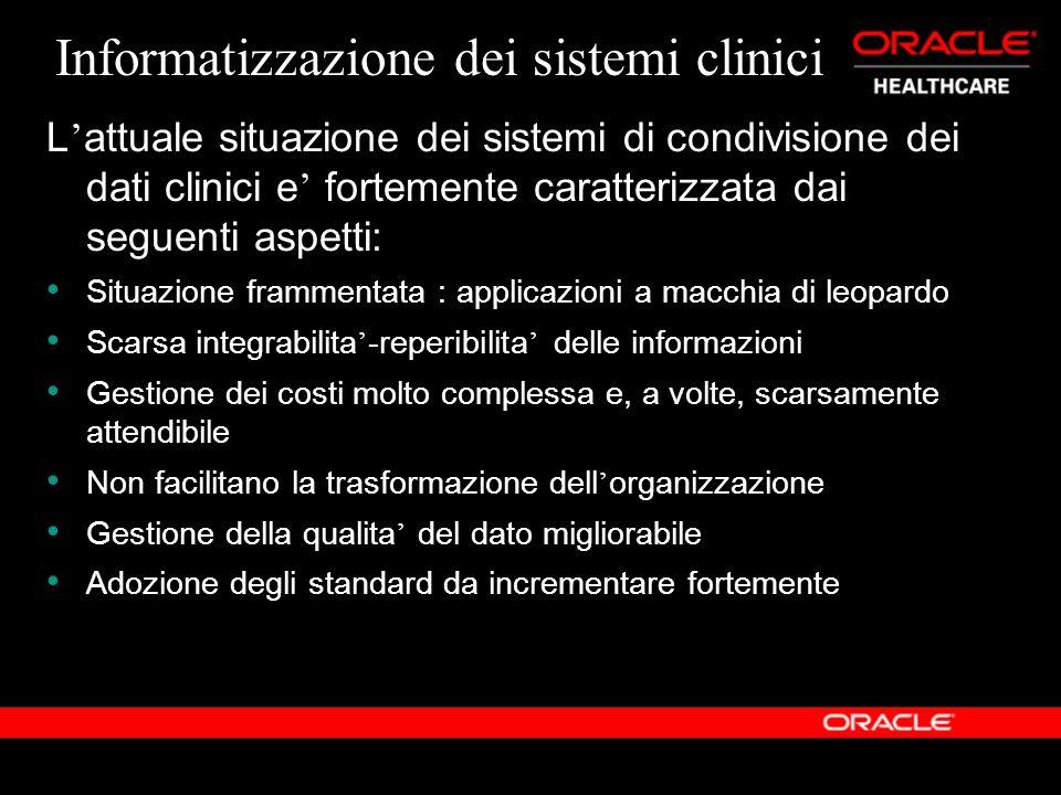 Informatizzazione dei sistemi clinici L attuale situazione dei sistemi di condivisione dei dati clinici e fortemente caratterizzata dai seguenti aspet
