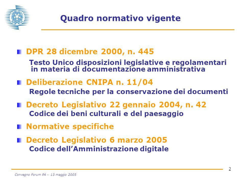 2 Convegno Forum PA - 13 maggio 2005 Quadro normativo vigente DPR 28 dicembre 2000, n. 445 Testo Unico disposizioni legislative e regolamentari in mat