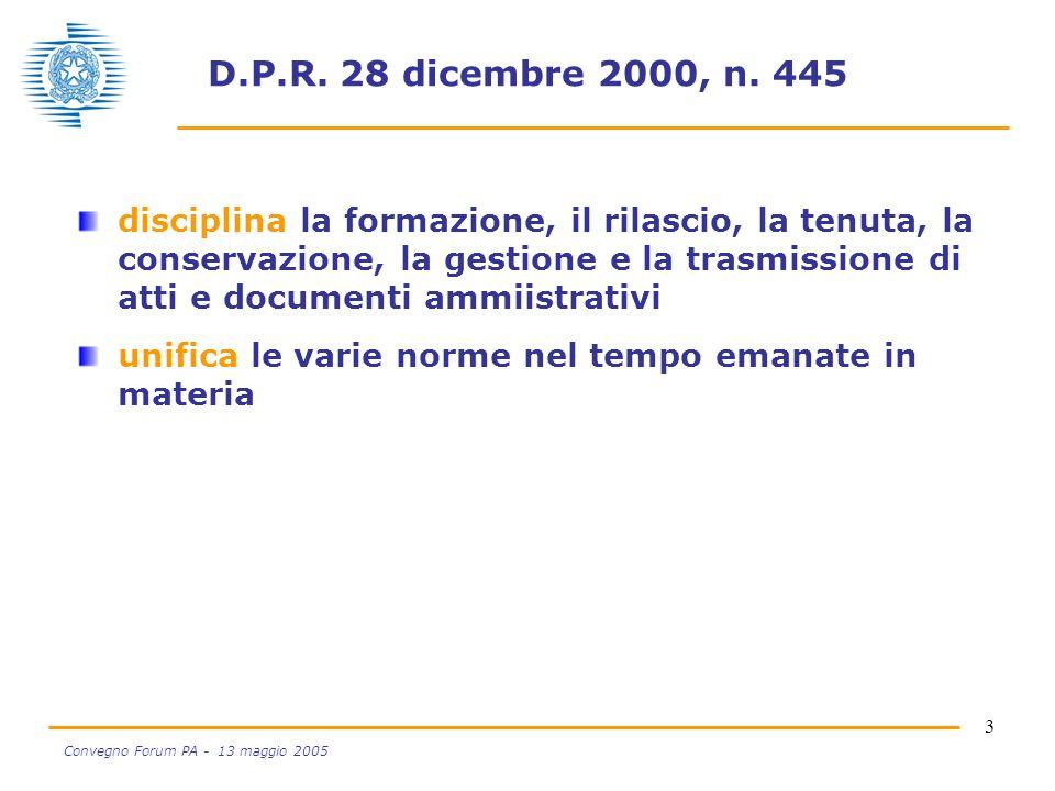 3 Convegno Forum PA - 13 maggio 2005 D.P.R. 28 dicembre 2000, n. 445 disciplina la formazione, il rilascio, la tenuta, la conservazione, la gestione e