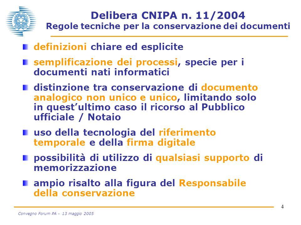 4 Convegno Forum PA - 13 maggio 2005 Delibera CNIPA n. 11/2004 Regole tecniche per la conservazione dei documenti definizioni chiare ed esplicite semp