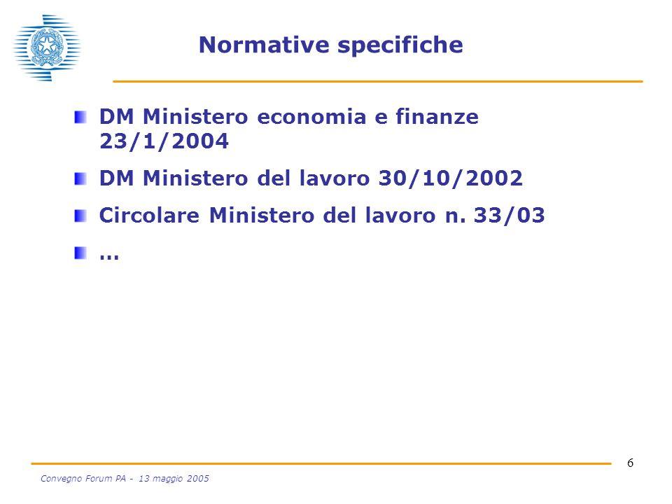 6 Convegno Forum PA - 13 maggio 2005 Normative specifiche DM Ministero economia e finanze 23/1/2004 DM Ministero del lavoro 30/10/2002 Circolare Minis