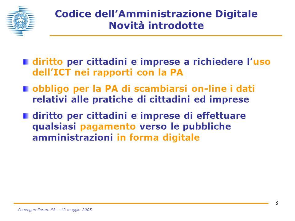 8 Convegno Forum PA - 13 maggio 2005 Codice dellAmministrazione Digitale Novità introdotte diritto per cittadini e imprese a richiedere luso dellICT n