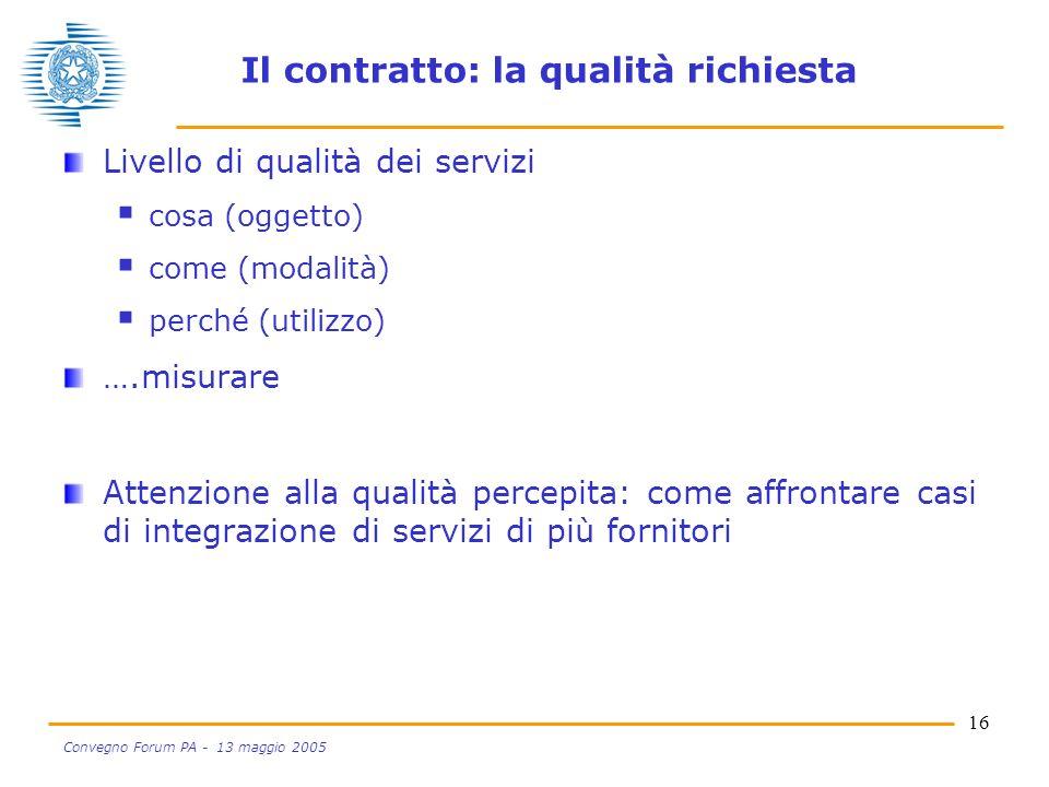 16 Convegno Forum PA - 13 maggio 2005 Il contratto: la qualità richiesta Livello di qualità dei servizi cosa (oggetto) come (modalità) perché (utilizzo) ….misurare Attenzione alla qualità percepita: come affrontare casi di integrazione di servizi di più fornitori