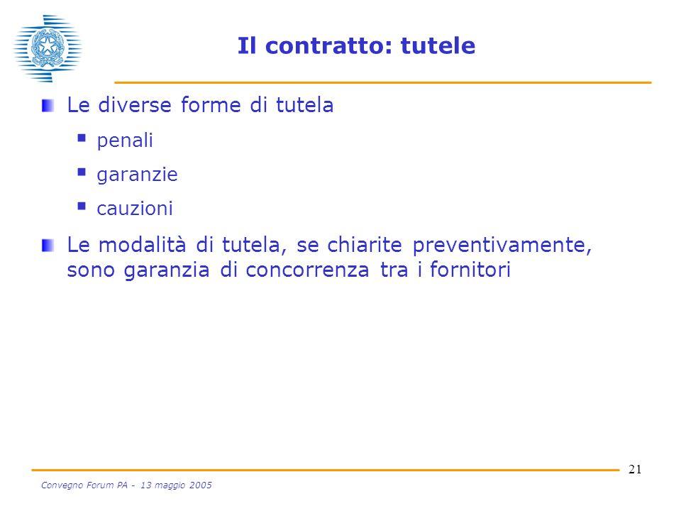 21 Convegno Forum PA - 13 maggio 2005 Il contratto: tutele Le diverse forme di tutela penali garanzie cauzioni Le modalità di tutela, se chiarite preventivamente, sono garanzia di concorrenza tra i fornitori