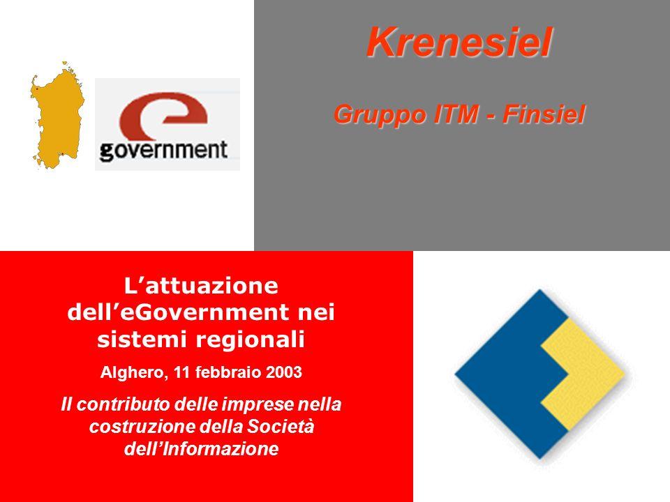 Krenesiel Gruppo ITM - Finsiel Lattuazione delleGovernment nei sistemi regionali Alghero, 11 febbraio 2003 Il contributo delle imprese nella costruzione della Società dellInformazione