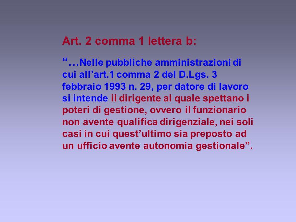 Art. 2 comma 1 lettera b: … Nelle pubbliche amministrazioni di cui allart.1 comma 2 del D.Lgs.