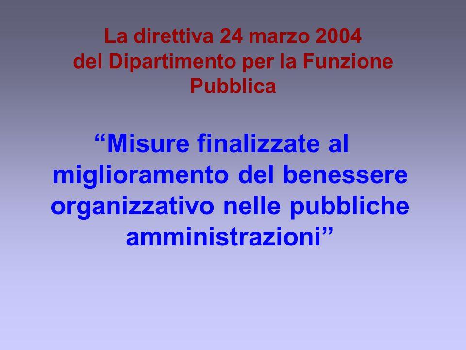 La direttiva 24 marzo 2004 del Dipartimento per la Funzione Pubblica Misure finalizzate al miglioramento del benessere organizzativo nelle pubbliche amministrazioni